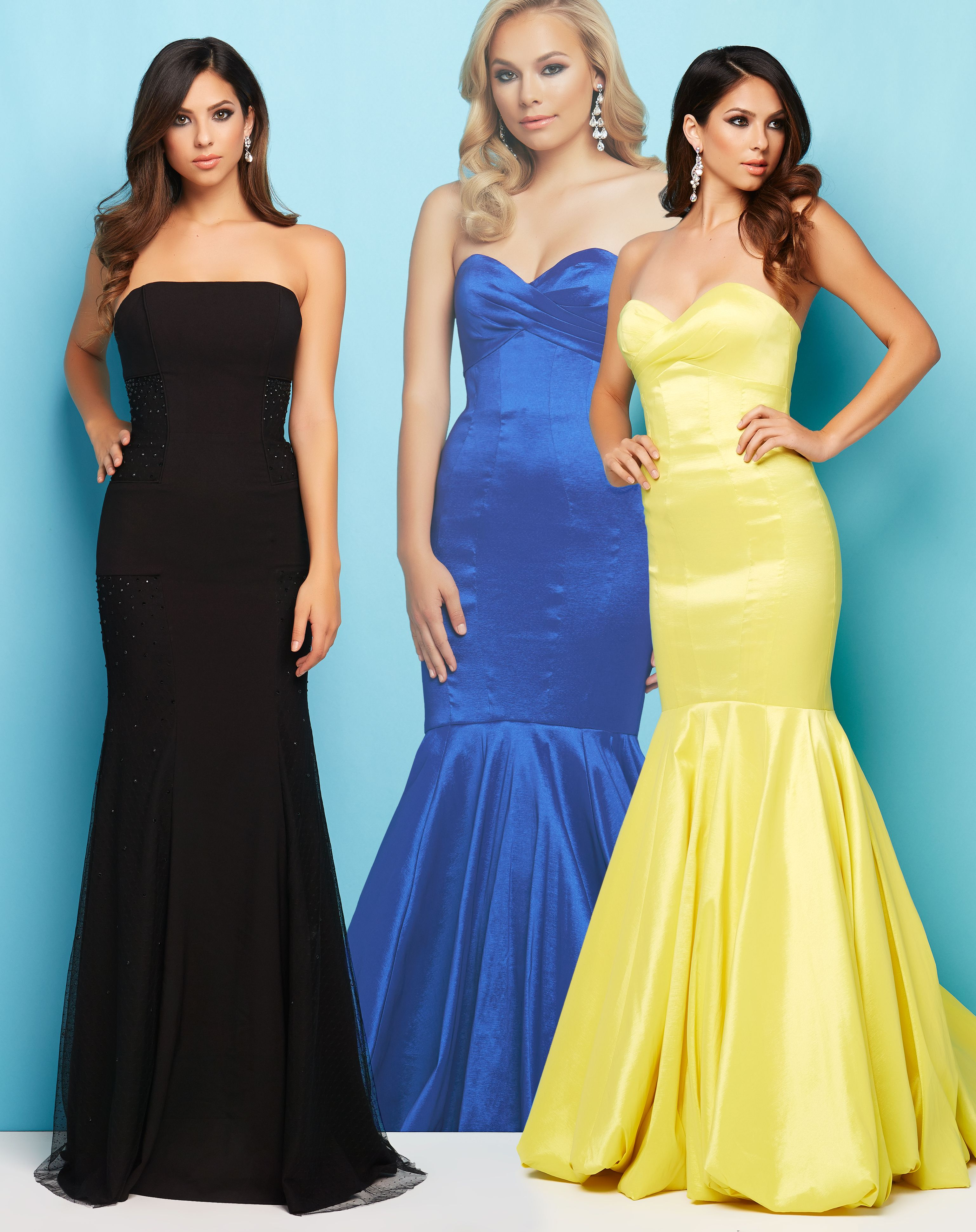 Strapless bold fitted mermaid skirt Mac Duggal Prom dresses