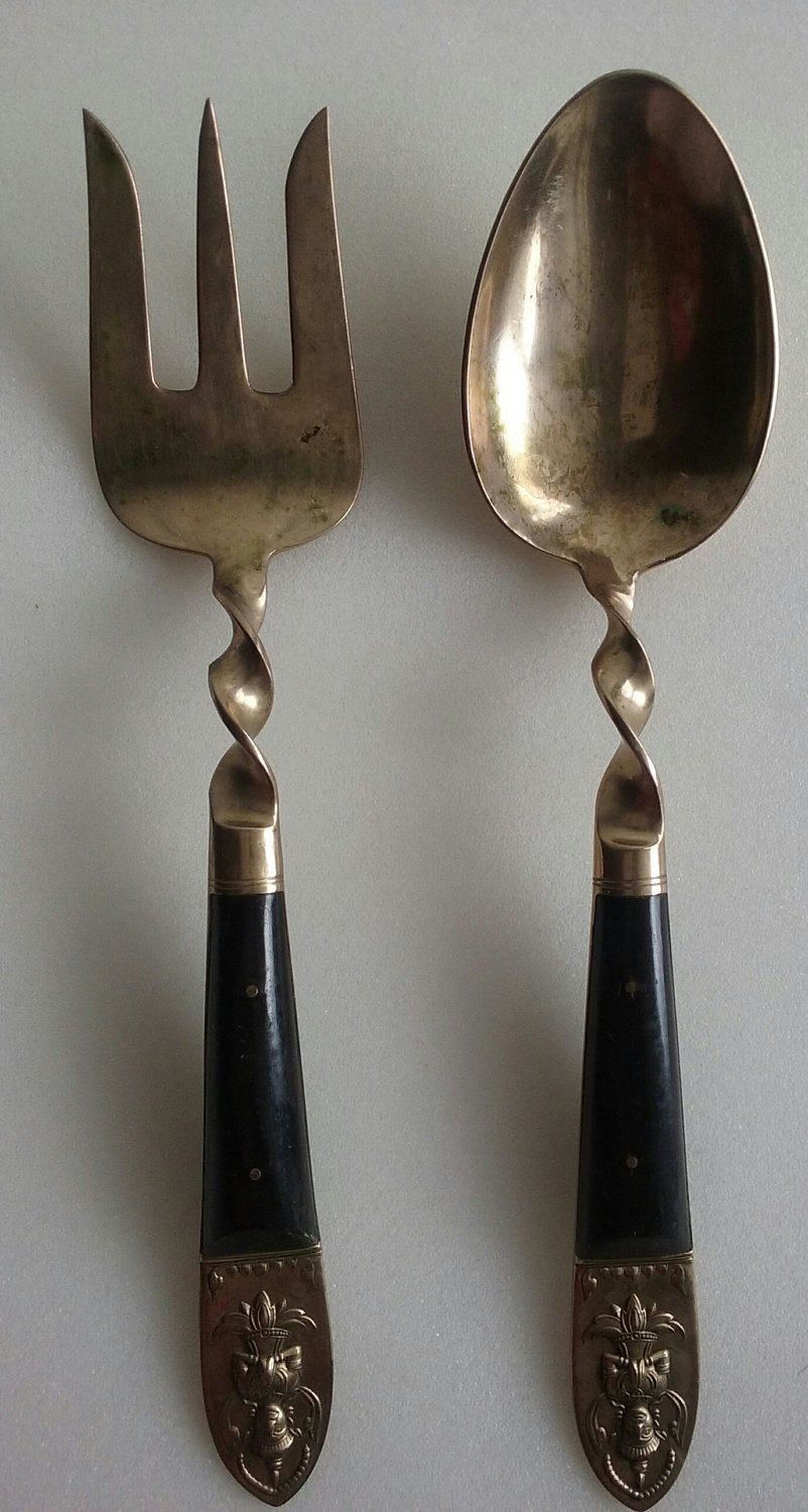 Vintage Brass Siam Flatware, Serving Fork and Spoon Set by ...