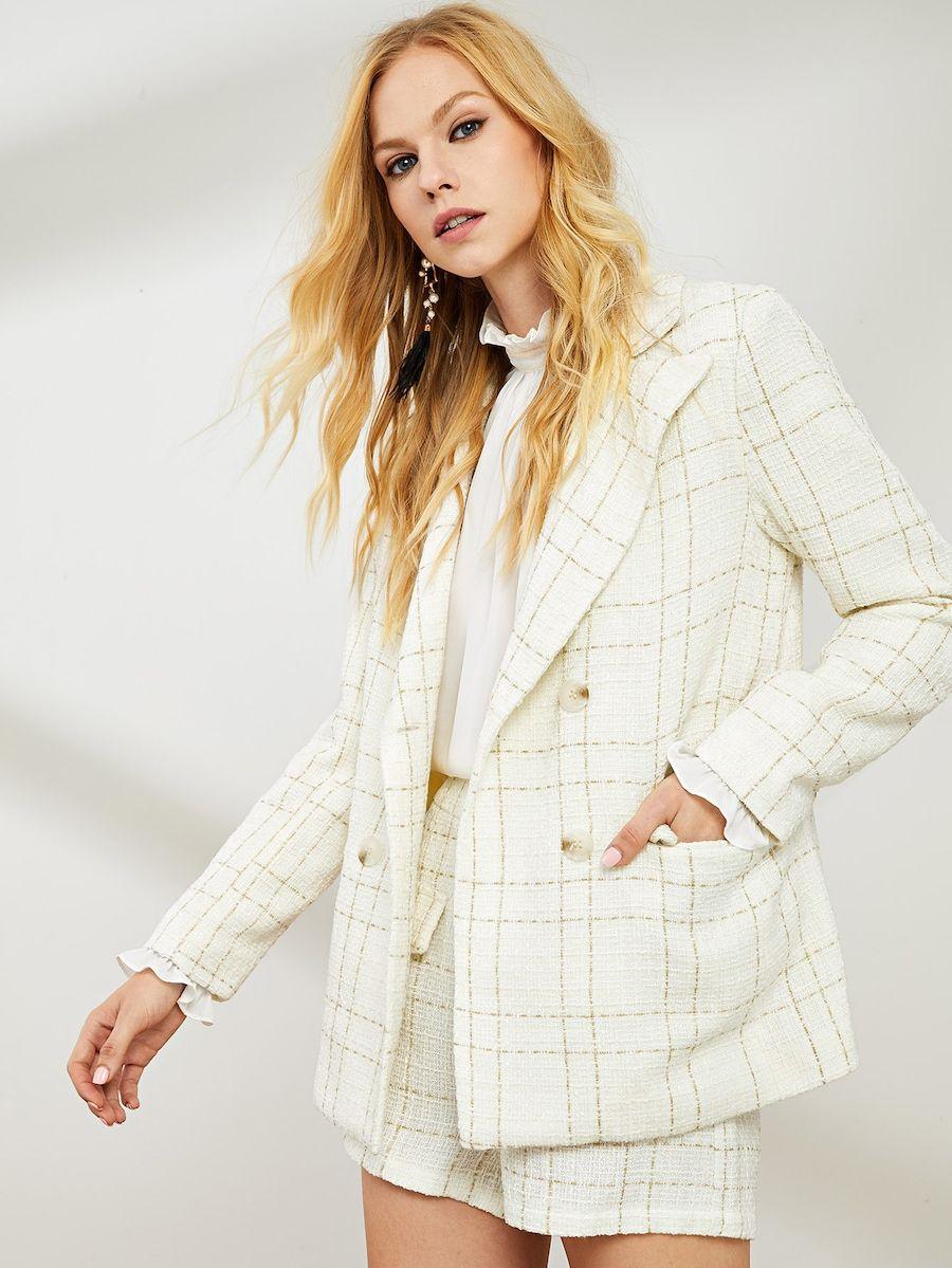 e9d2f2b1205 Double Button Notched Neck Plaid Blazer SheIn   - attire -   Plaid ...