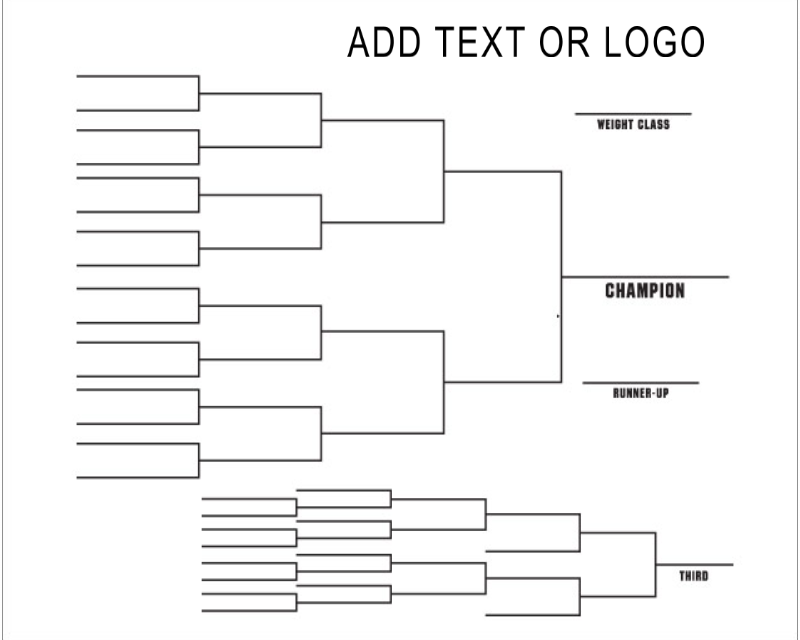 Dry Erase Wrestling Tournament Bracket  Front  Design Your Own