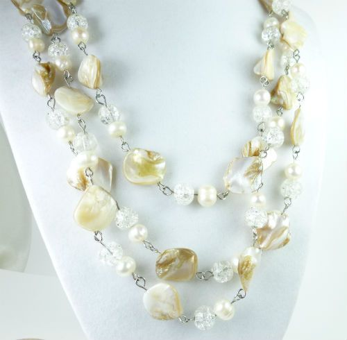 "#Freshwater Pearl White Beige Mother of Pearl 58"" #Necklace @dianesdangles"