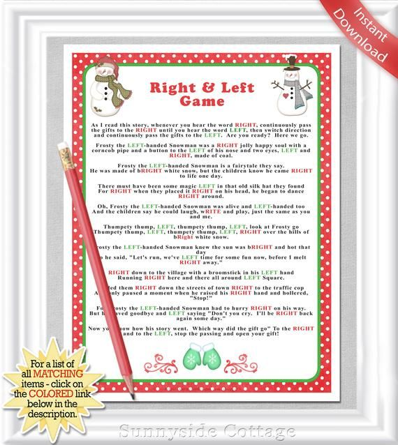 Right & Left Frosty The Snowman Story/Game With Red Dots