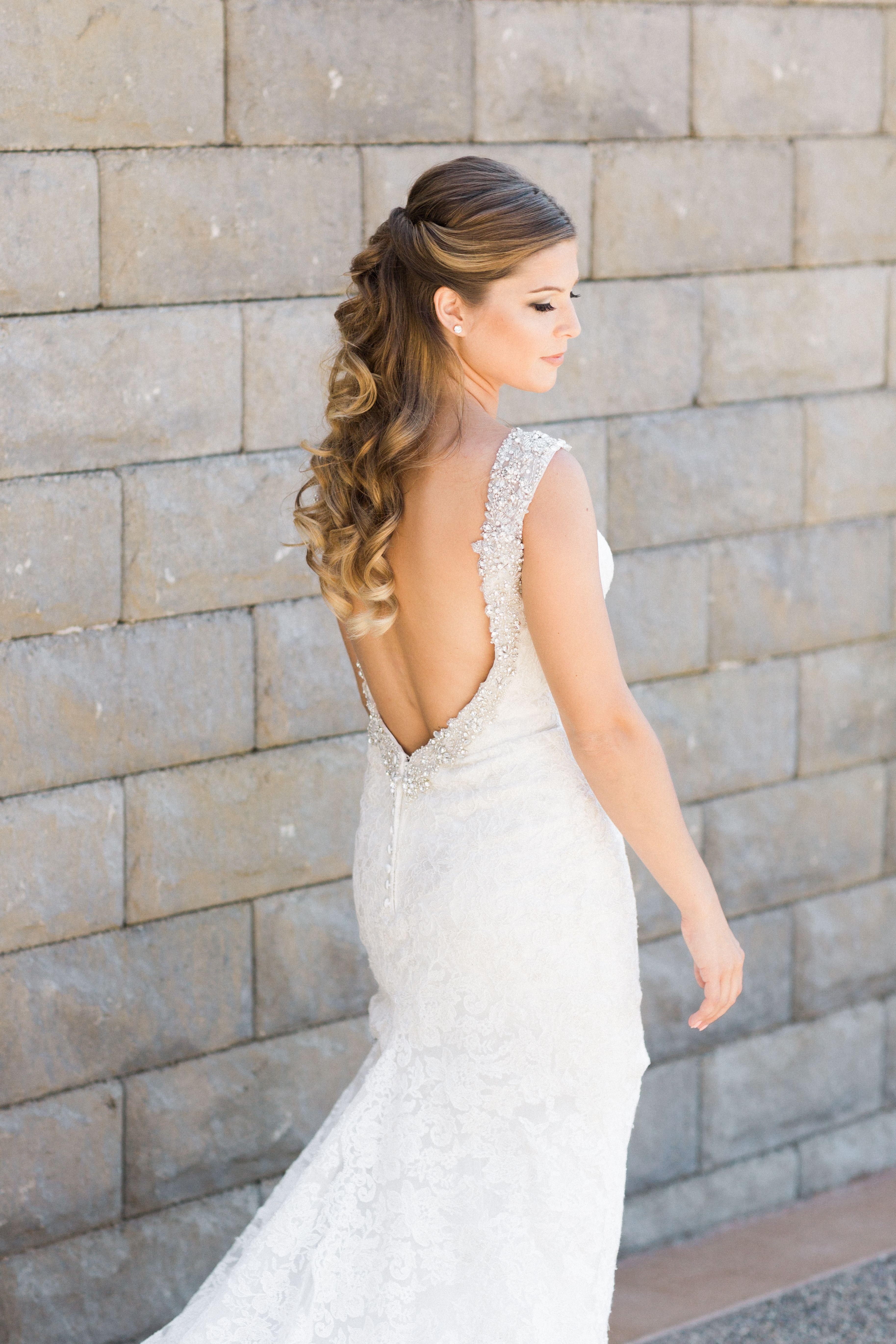 Half Up Bridal Hairstyle With Loose Curls bridal hair