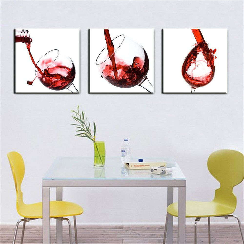 Wall art for home - 3 Panel Red Wine Glass Painting Canvas Wall Art Picture Home Decoration Living Room Canvas Print Painting