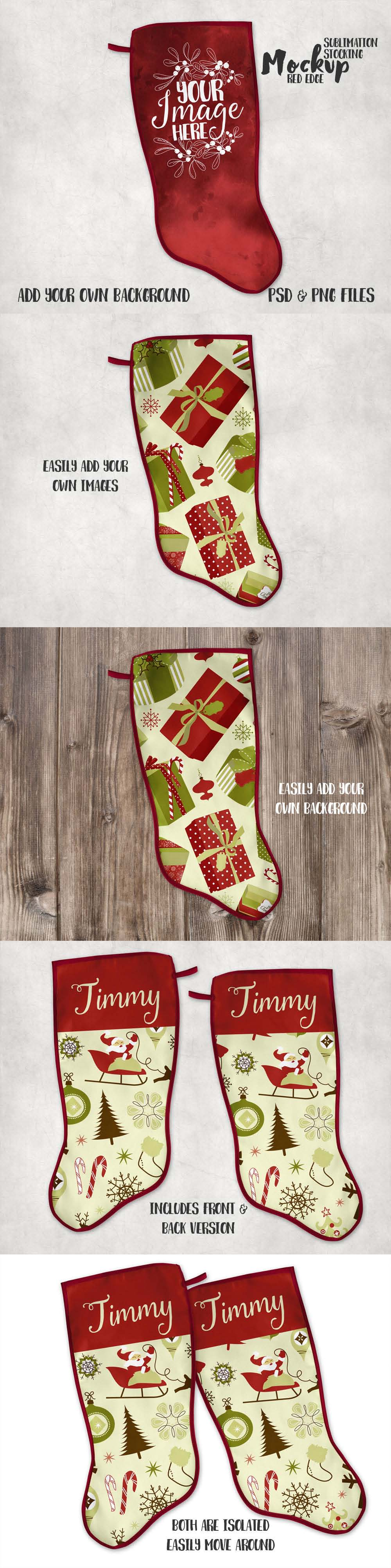 Mock-up that features a dye sublimation canvas Christmas stocking