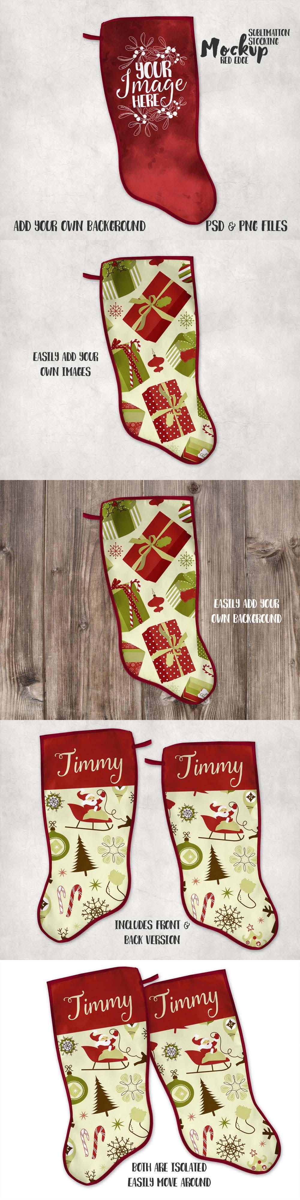 Red Trim Christmas Stocking Mockup Print mockup