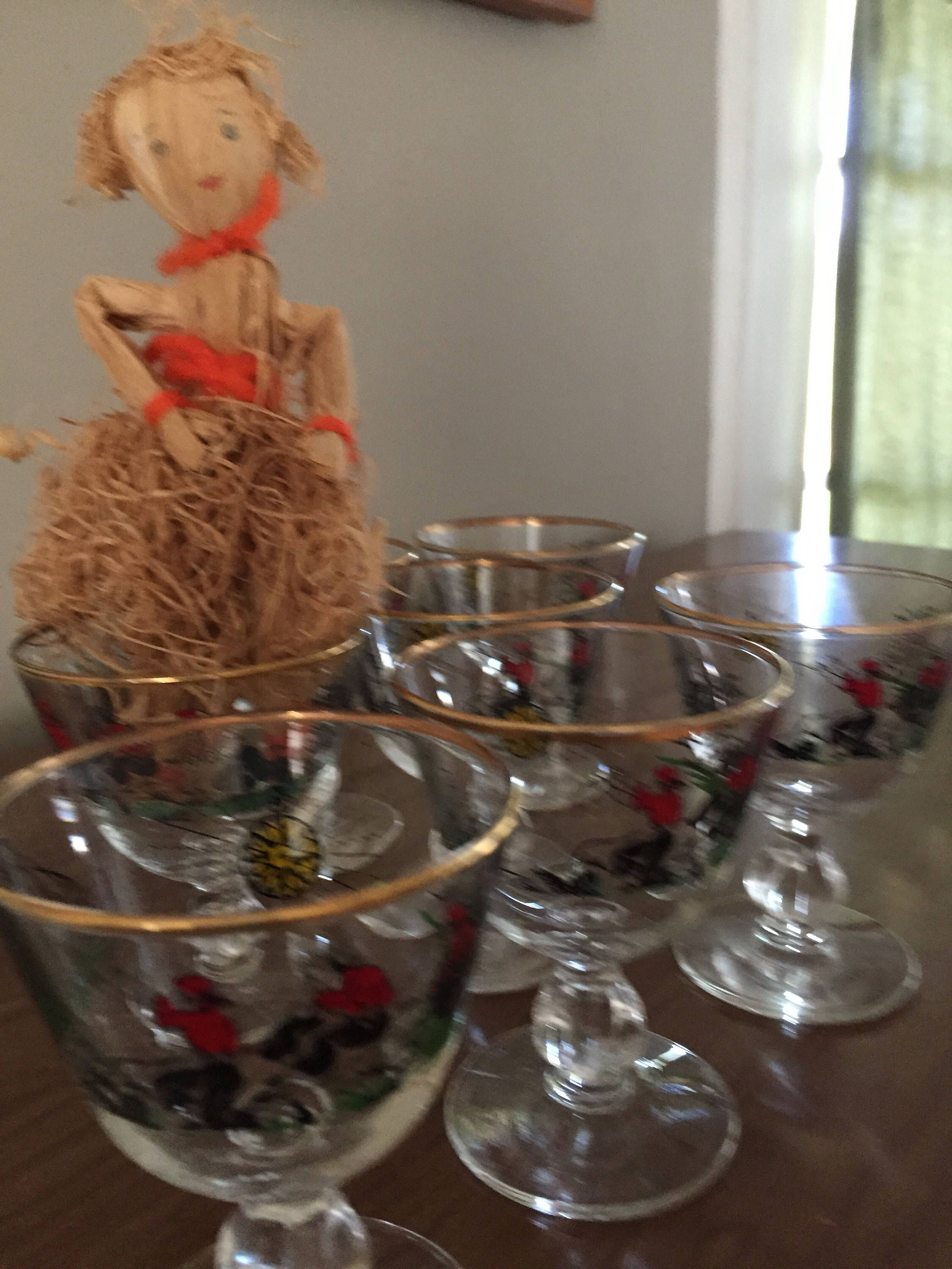 Sherry Glasses, Cordial Glass, Retro, Barware, Mid Century, Vintage , Deep