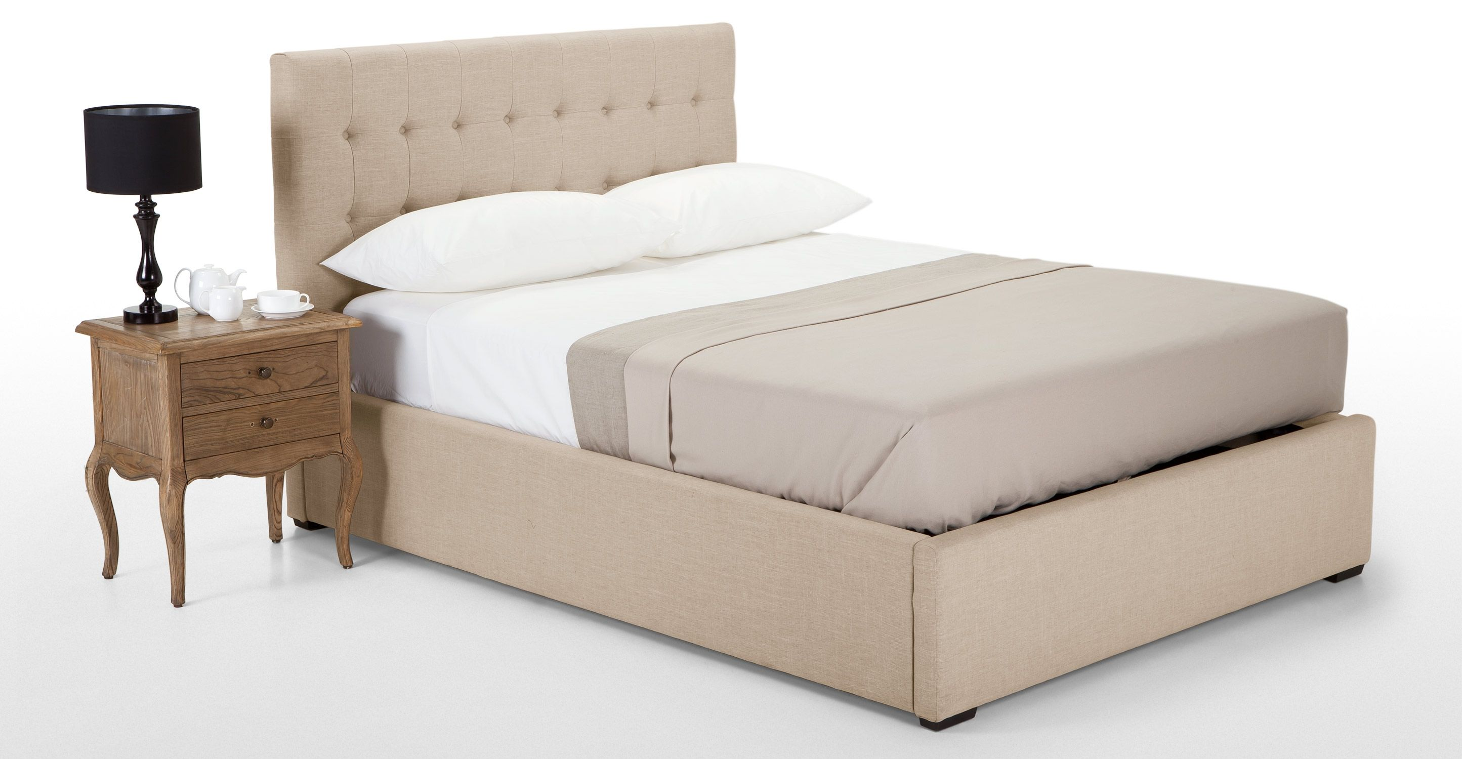 Finlay 140cm x 200cm Double Bed with Storage in biscuit