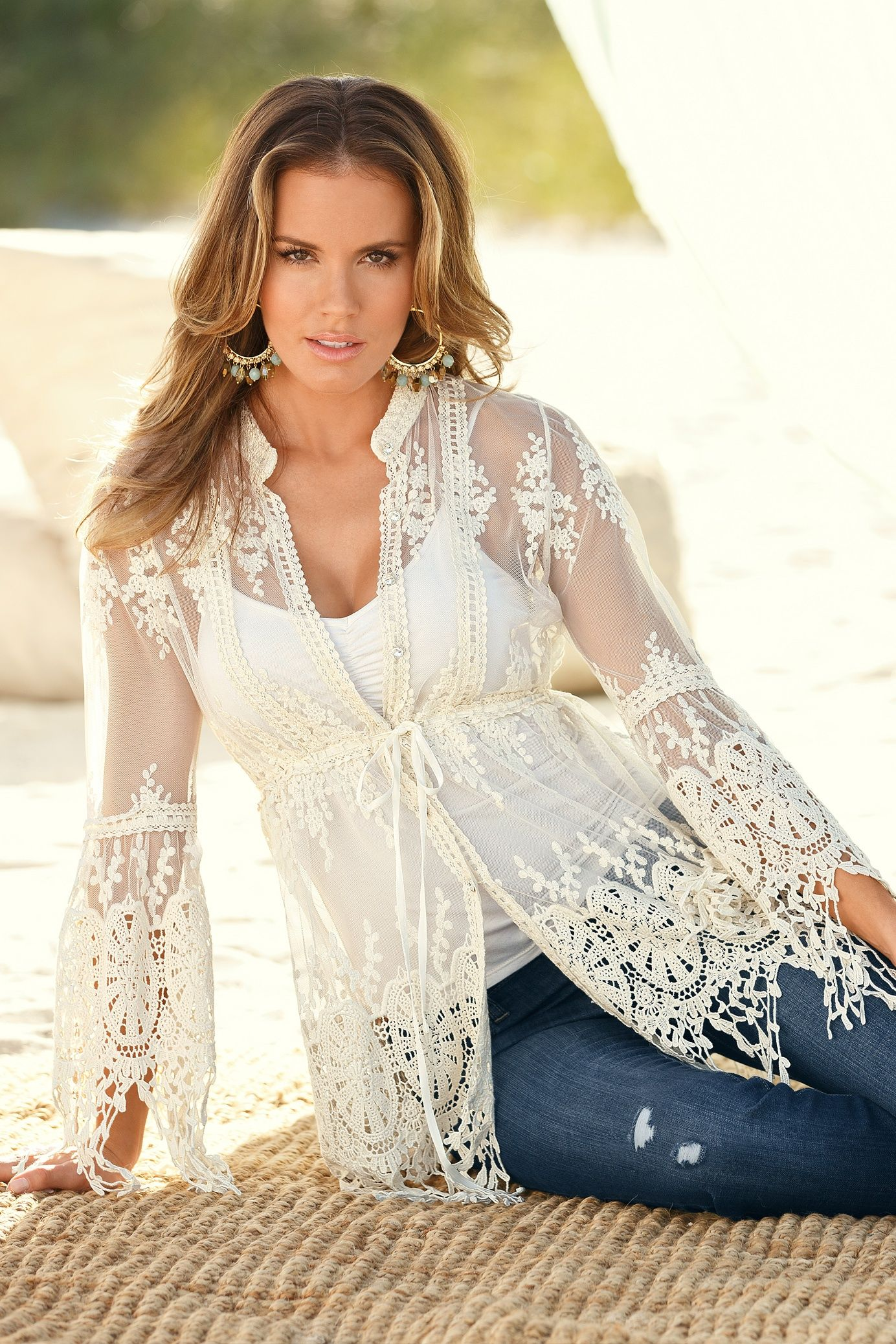 Embroidered lace tunic | My Style | Pinterest | Lace tunic ...