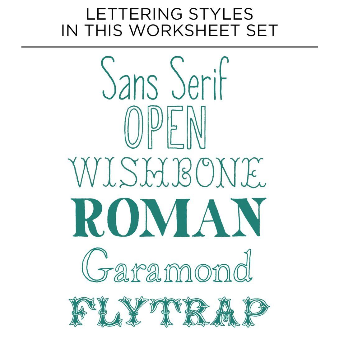 Premium Hand Lettering Worksheet Set With Images