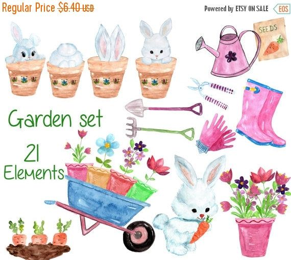 Watercolor garden clipart garden tool clipart spring for Gardening tools you must have