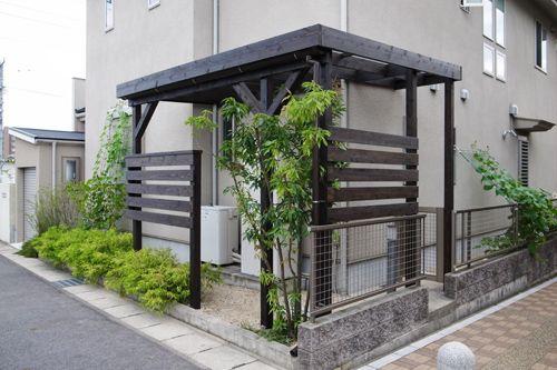 自転車置き場 窓 眺め シェード木 陰 花壇 坪庭 壁面緑化 マイホーム