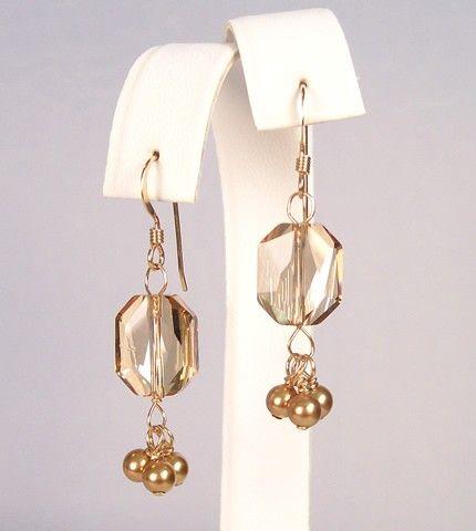 Champagne & Gold Short Chandelier Earrings bridesmaids by bonitaj ...