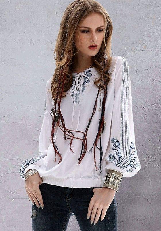 1b7a221053e97 Bohemian Style White Plain Embroidery Pleated V-neck Lantern Sleeve Blouse  - Blouses  Bohemian  Style  Top  Fashion