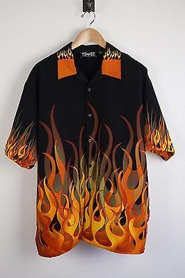 Flame Button Up Shirt >> #Dragonfly Mens Large Flames Button Down Shirt Flaming Black Orange #HotRod | Mens outfits