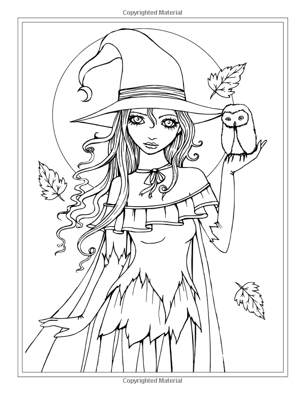 autumn fantasy coloring book halloween witches vampires and autumn fairies