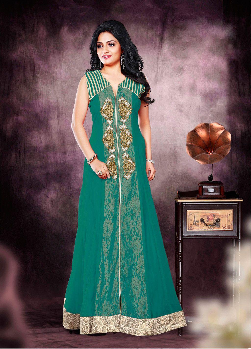 Sea Green Net Long Anarkali Suit 70217   Desi   Pinterest   Long ...