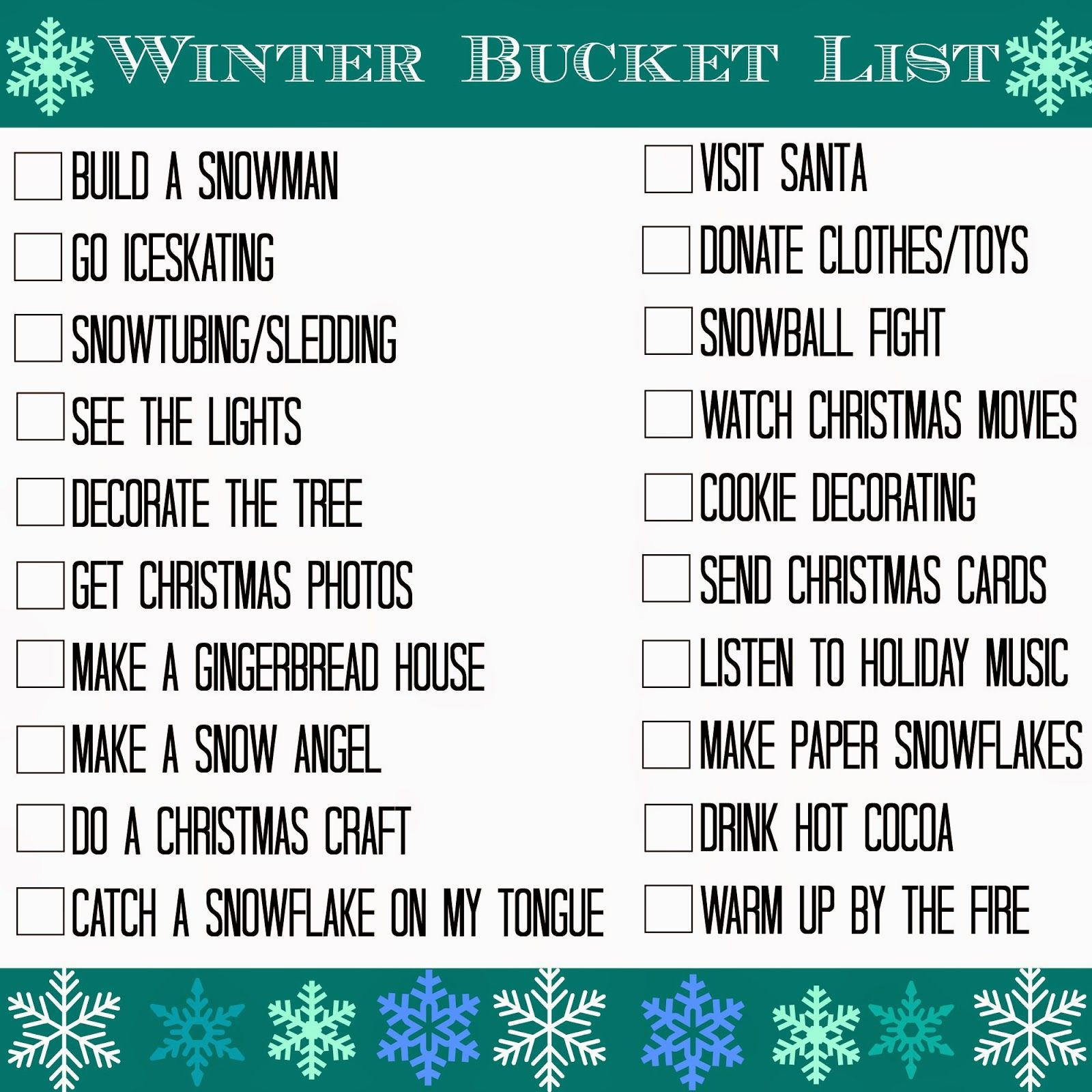 Winter Bucket List Christmas