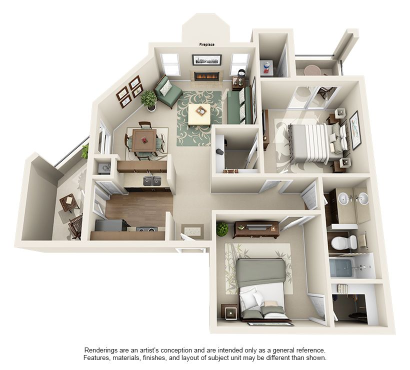 Terrace Cove Apartments Mariposa 2 Bedroom Apartment Floor Plan