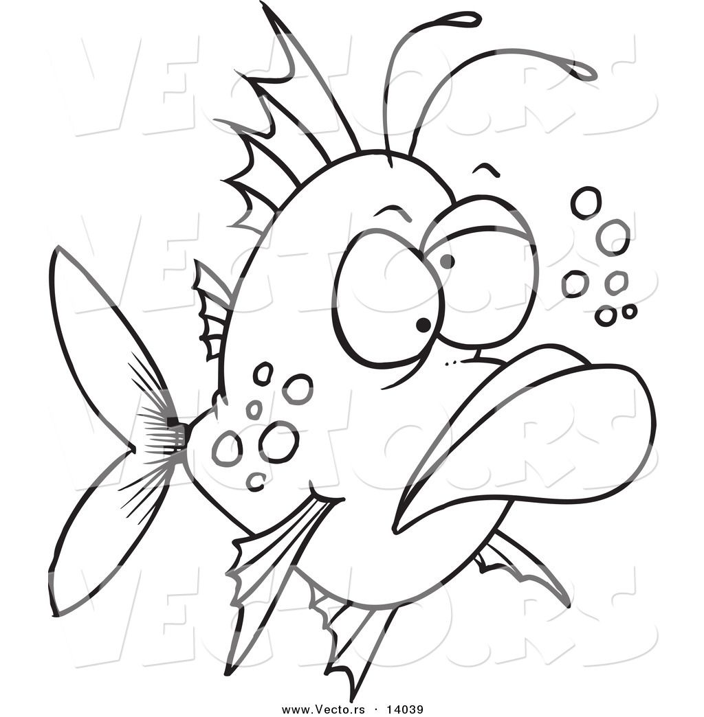 fish pictures to color | Vector of a Cartoon Grumpy Ugly Fish ...