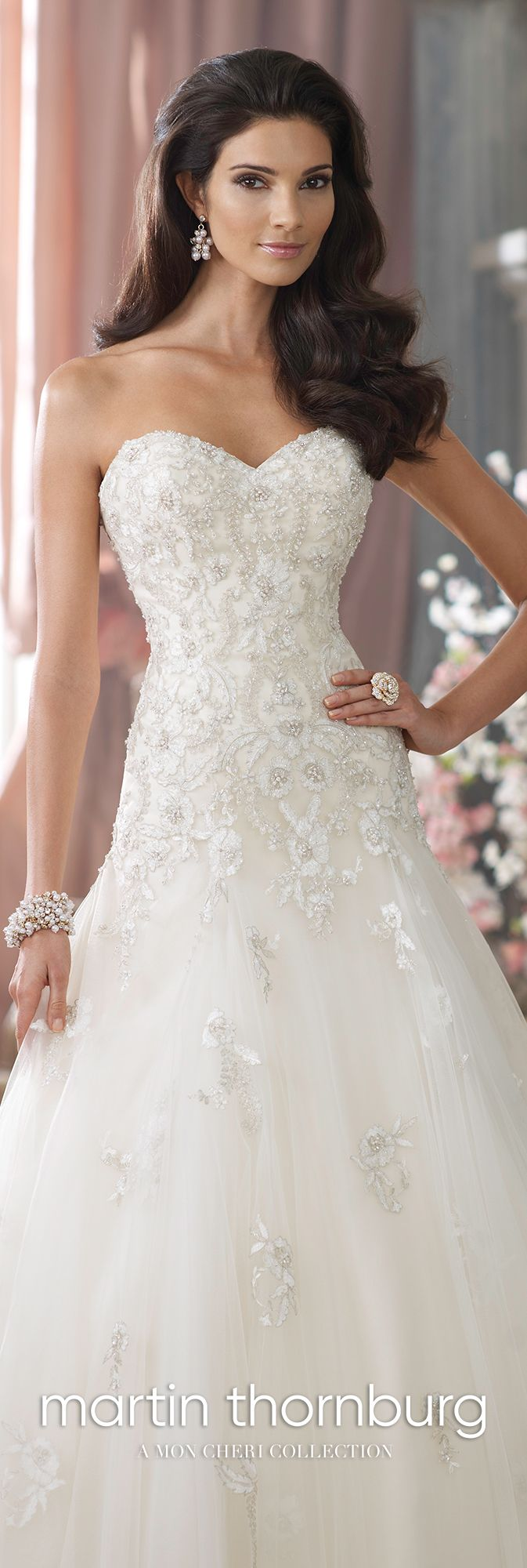 Strapless handbeaded schiffli lace wedding dress kristi