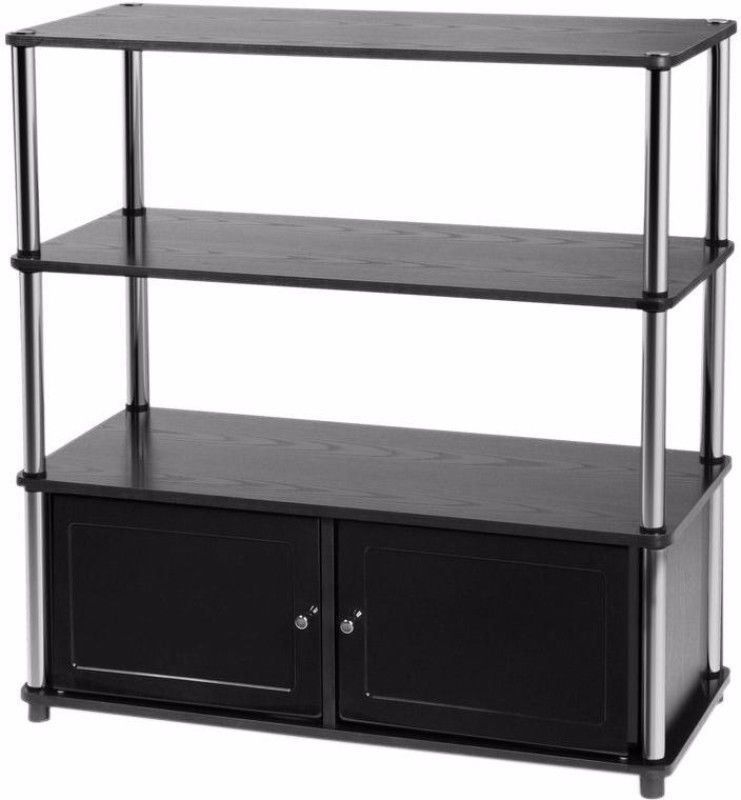 Review Black Storage Entertainment Center Three Tier TV Stand Home fice Furniture Unique - Simple tv stand for bedroom Top Design