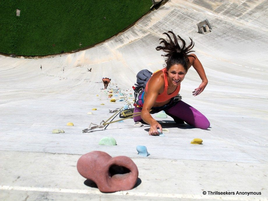 Climbing Diga di Luzzone, the world's largest artificial climbing wall – Blenio, Switzerland.