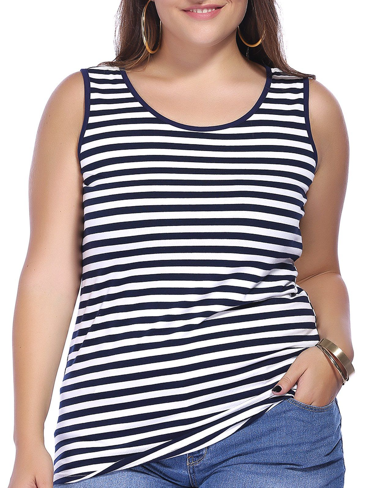 chic plus size scoop neck striped tank top for women | striped