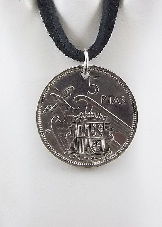 Spanish Coin Necklace 5 Pesetas Coin Pendant by AutumnWindsJewelry