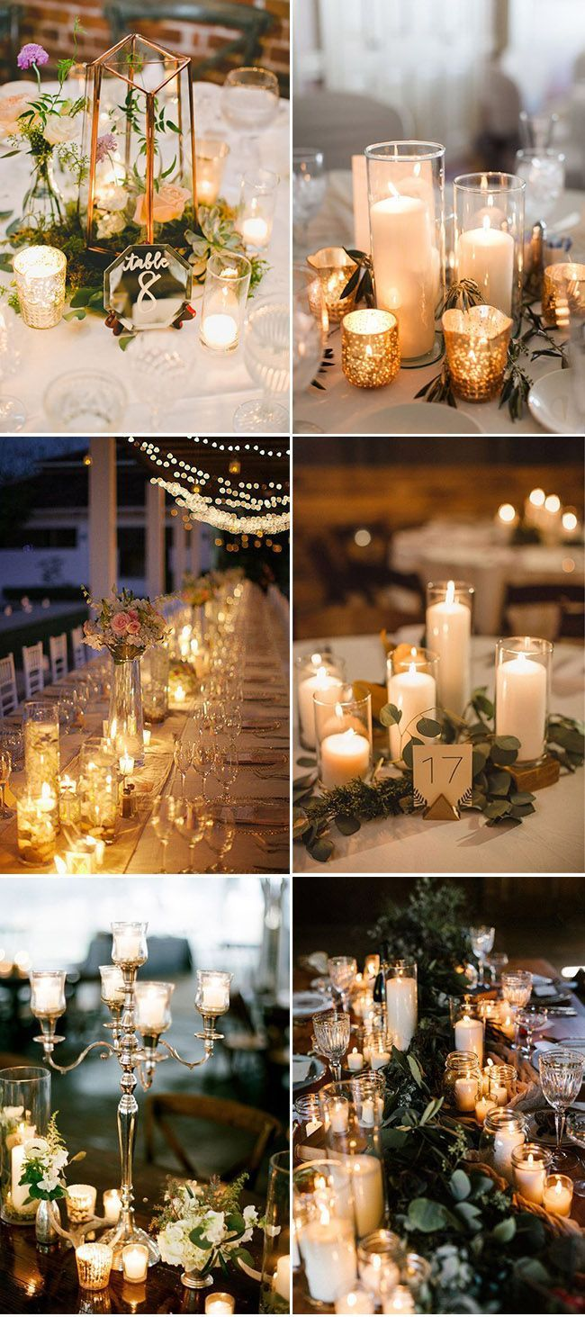 Outdoor wedding decor lights  Gorgeous wedding centerpieces ideas with roamtic candle lights