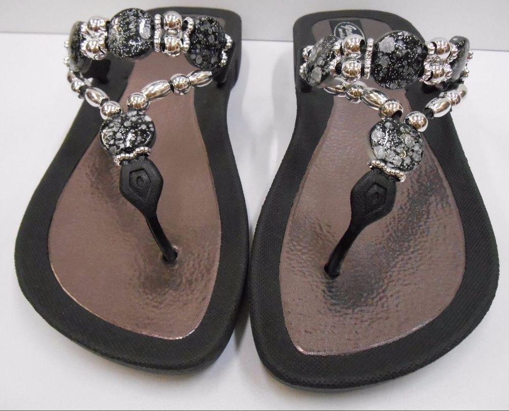 c2b5039498e066 GRANDCO SANDALS Beach Pool THONG BLACK Dressy BLING FROSTED Jeweled Flip  Flops
