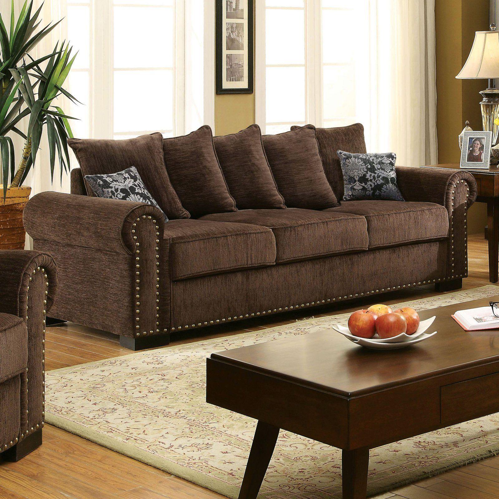 Furniture of America Artesia Sofa with Nailhead Trim ...