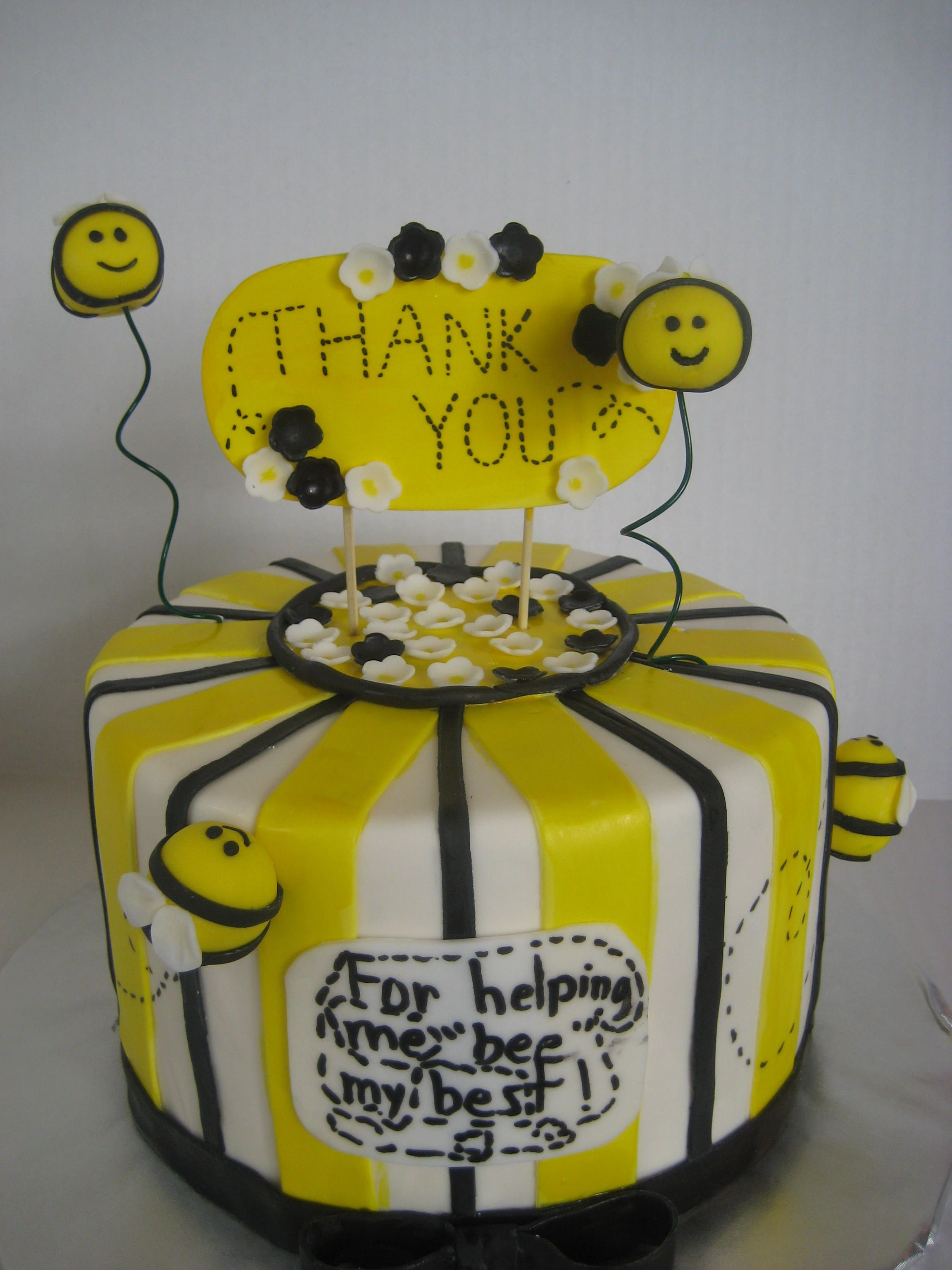 Thank you cake for my son s 2nd grade teacher Bees and flowers