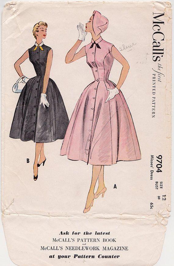 9b7d35e0a 50s Princess Seam Full Skirt Dress Vintage Sewing Pattern - McCall s ...
