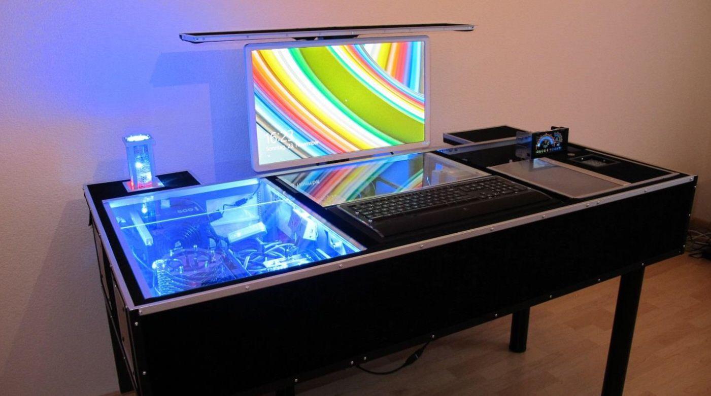 Computertisch Wohnzimmer ~ Flatlift im computertisch selbstbau projekt eines kunden monitor