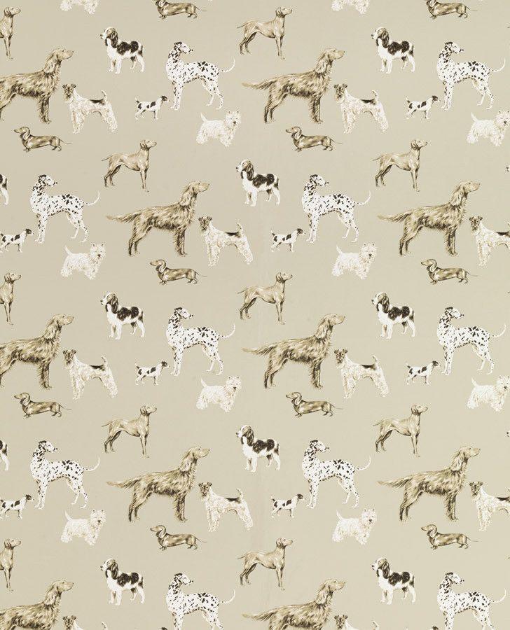 Beige dog print home wallpaper hunterhill dark linen - Dog print wallpaper ...