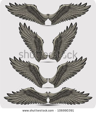 Wings Set Vector Illustration Wings Tattoos Tattoo Drawings