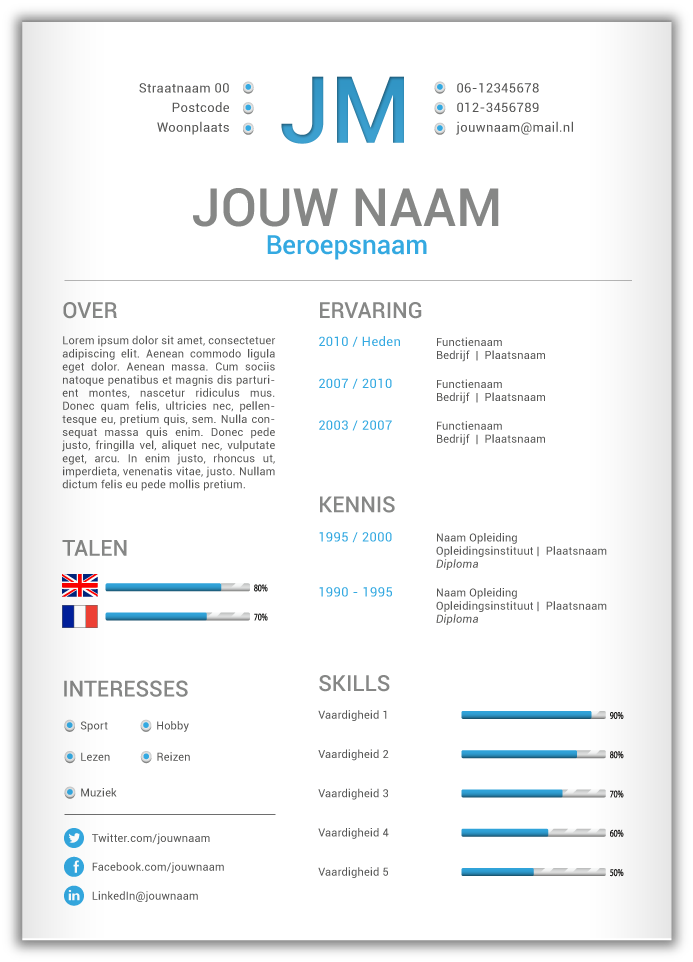 Voorbeeld opbouw van een #creatief #cv .vivier.nl | coach