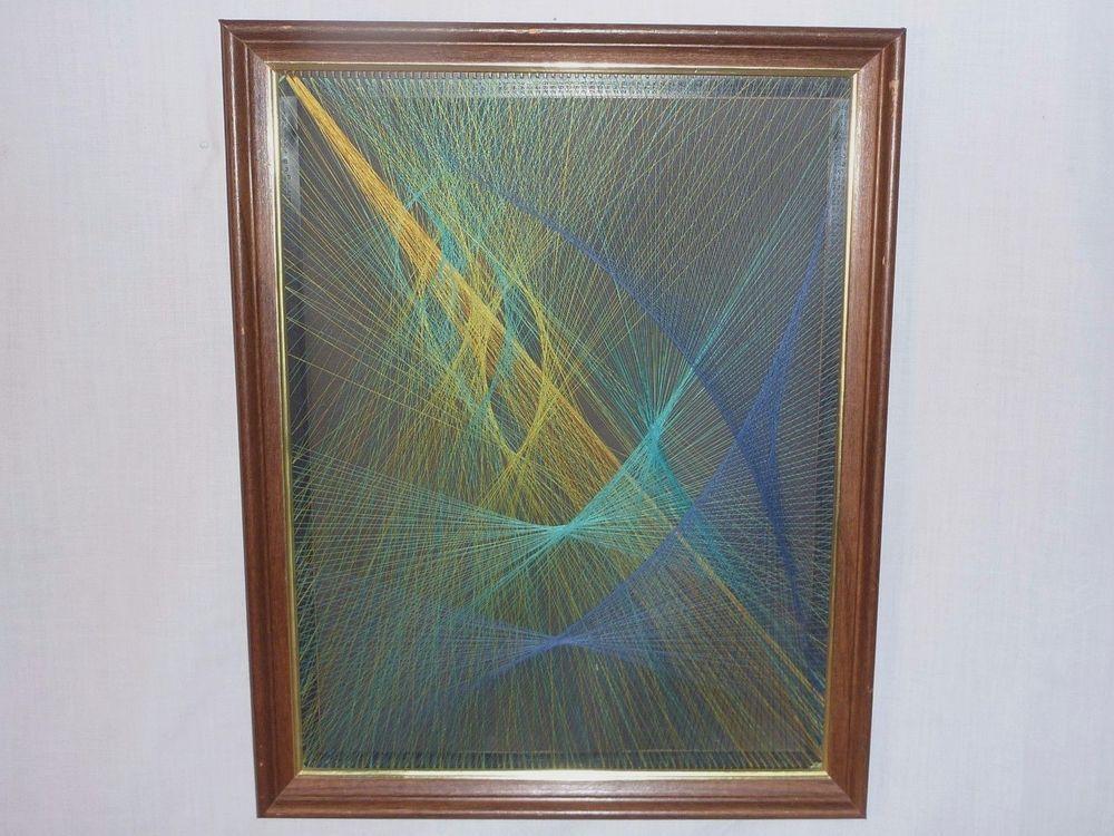 Vintage Mid Century String Art Geometric Op