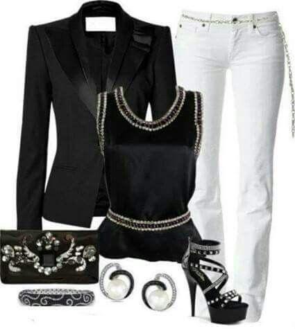 Black and white pants ensemble
