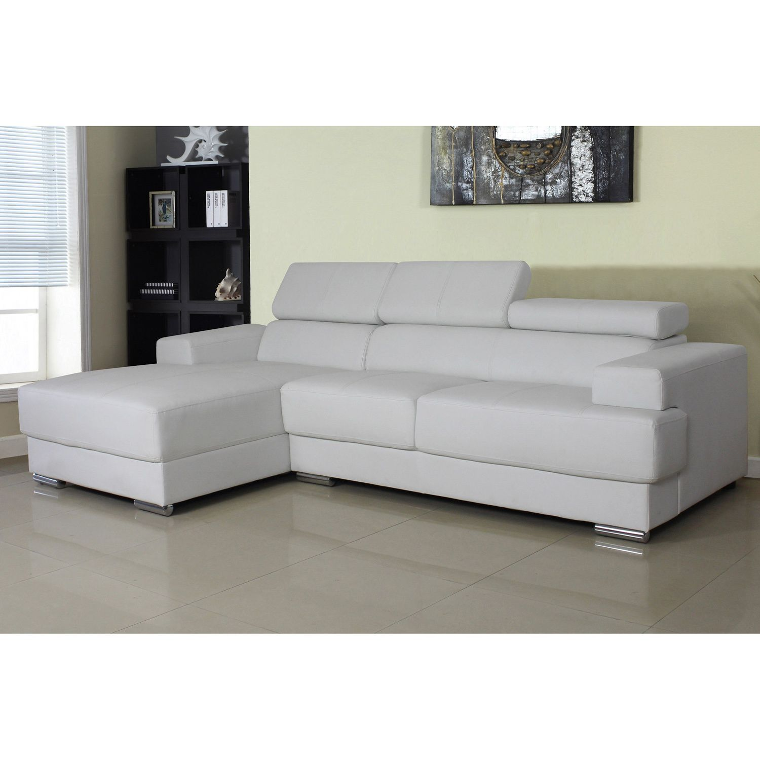 US Pride Furniture Gabriel Leather Contemporary Sectional Sofa Set
