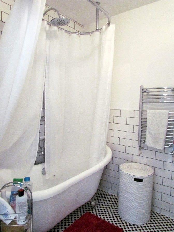 Wall Ceiling Fix Chrome Circular Shower Curtain Rail Shower Over
