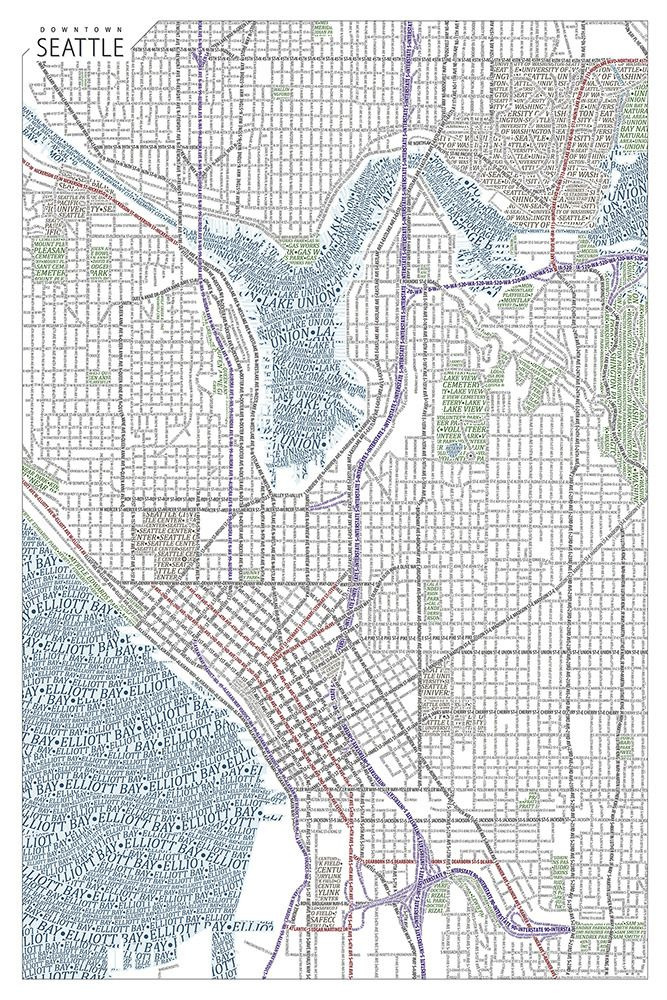 Map of Seattle made solely of type Design graphically