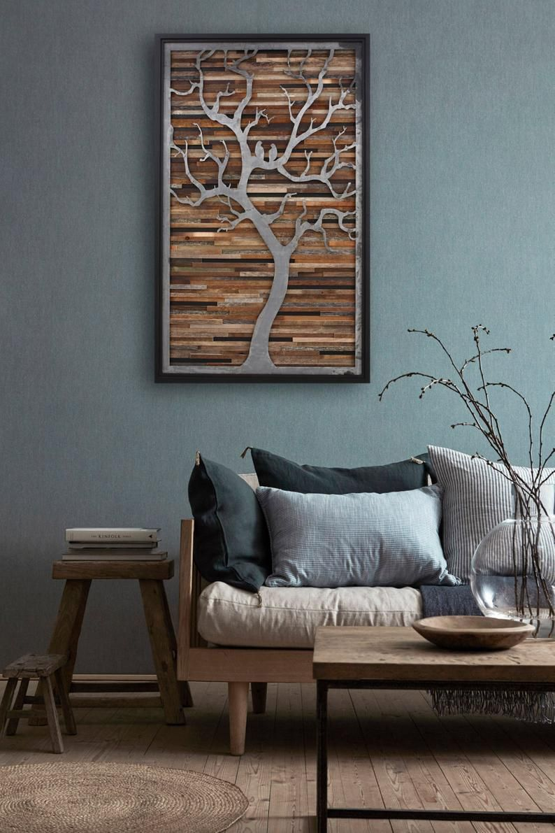 Wood Wall Art Metal Tree Large Wall Art Wood Wall Etsy In 2020 Small Room Design Living Decor Home Interior Design #wall #sculpture #for #living #room