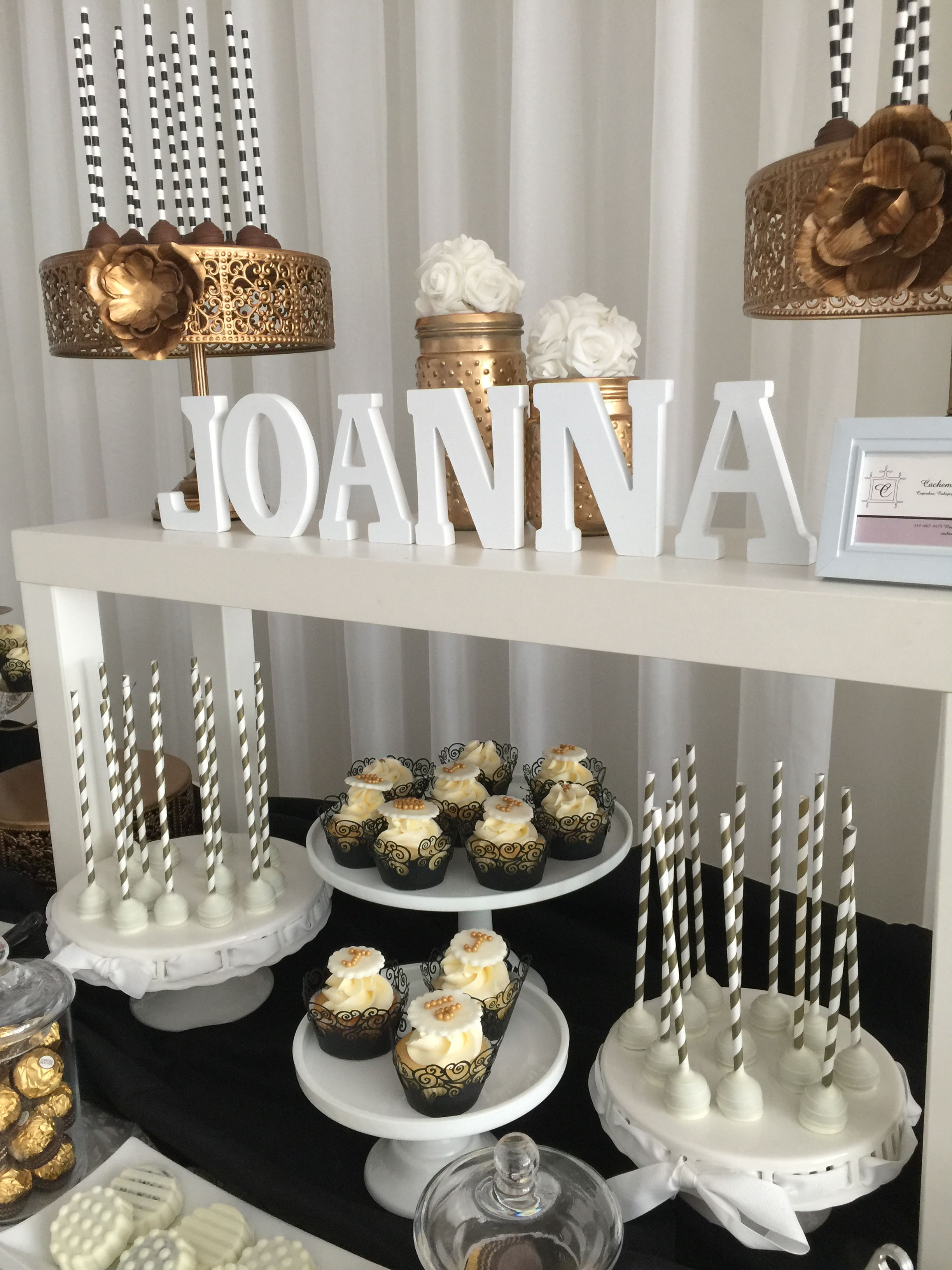 Sweet Sixteen Candy Bar Cupcakes Pops Gold White And Black