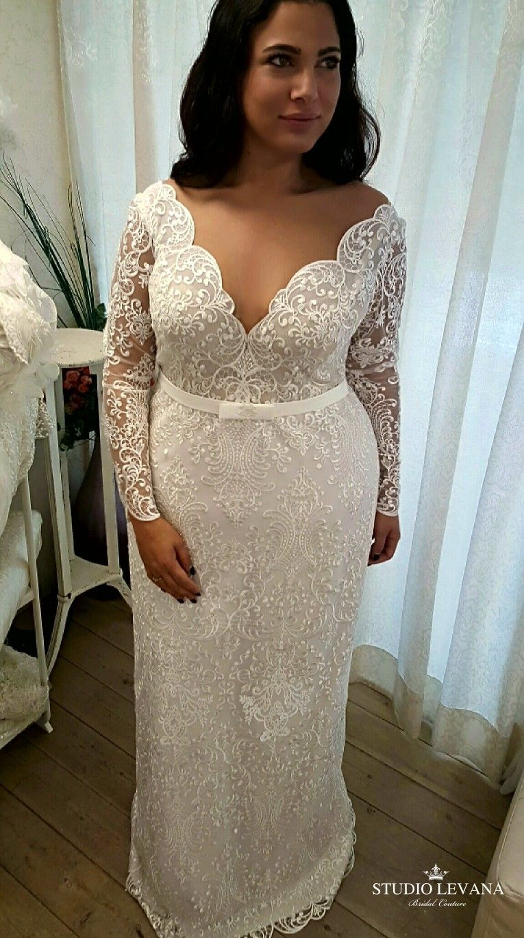 Plus Size Mermaid Lace Wedding Gown With Long Sleeves Milena Studio Levana