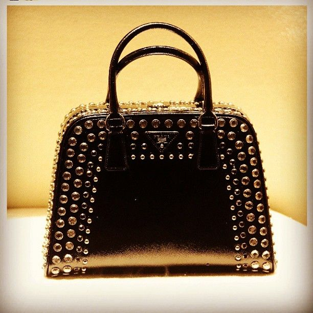 Prada black leather studded bag!  @prada