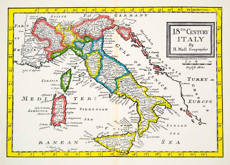 1944 Print Map Eighteenth Century Italy Gulf Venice Ionian Sea