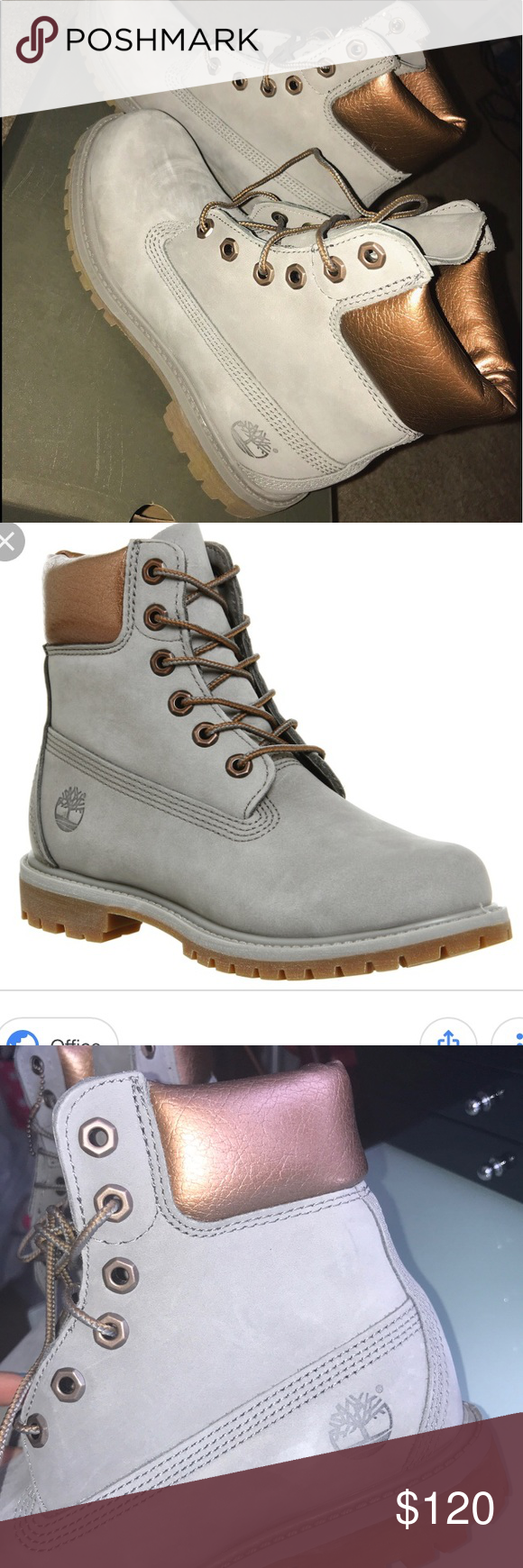 72cfa8db06f Timberland rose gold and grey boots women s size 6 Super cute and worn only  once with scuffing as shown! Comes with original box although the box is ...