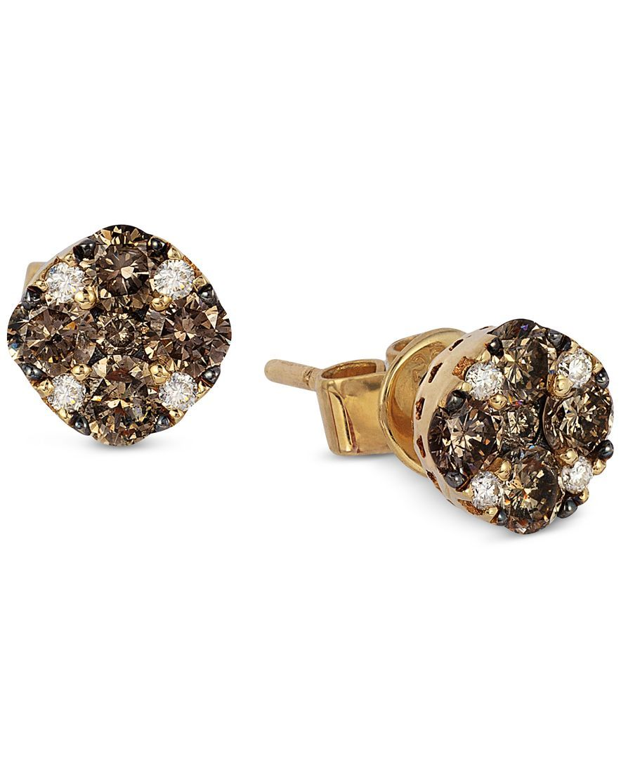 Le Vian Chocolate And White Diamond Stud Earrings 1 2 Ct T W In 14k Gold